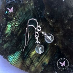 Clear Quartz Silver Accent Earrings
